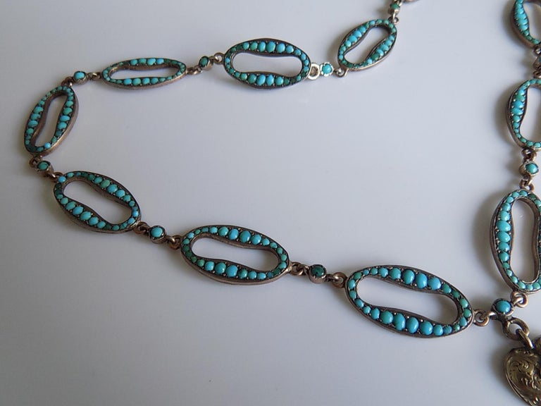 Women's Stunning Victorian Turquoise Silver Heart Love Necklace For Sale