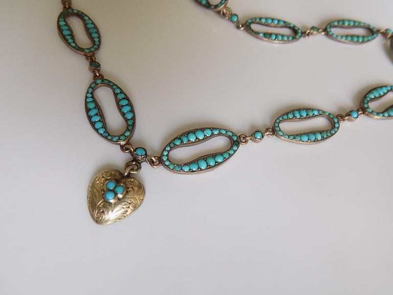 Stunning Victorian Turquoise Silver Heart Love Necklace For Sale 2