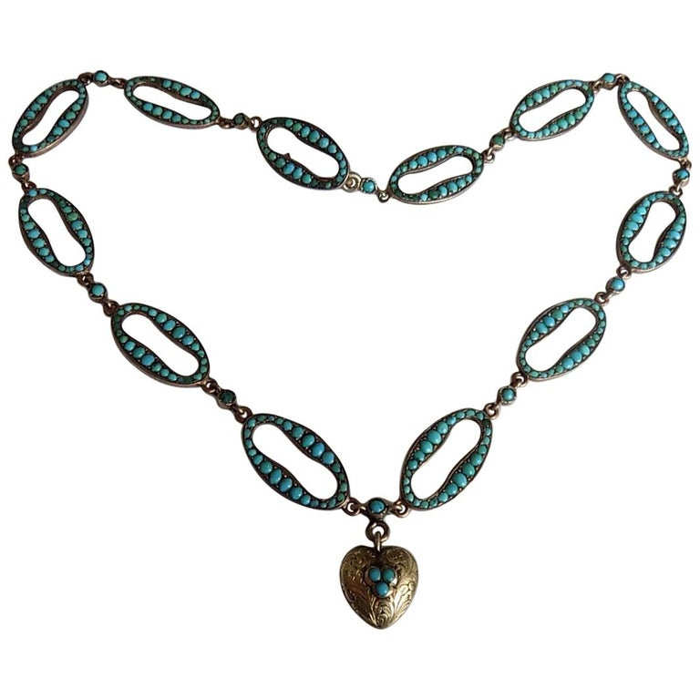 Stunning Victorian Turquoise Silver Heart Love Necklace For Sale
