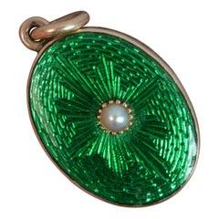 Stunning Victorian Vivid Green Enamel and Pearl Locket Pendant, circa 1880