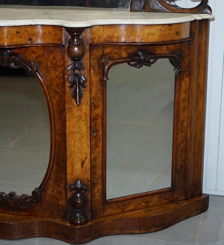 Stunning Victorian Walnut And Marble Sideboard Chiffonier