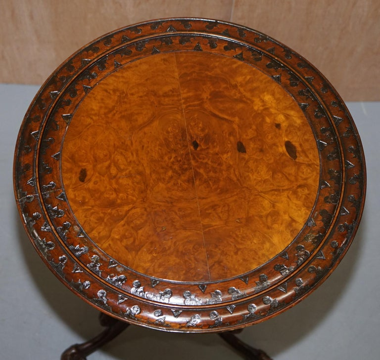 English Stunning Victorian Walnut Hand Carved Substantial Side Table Ornately Carved For Sale