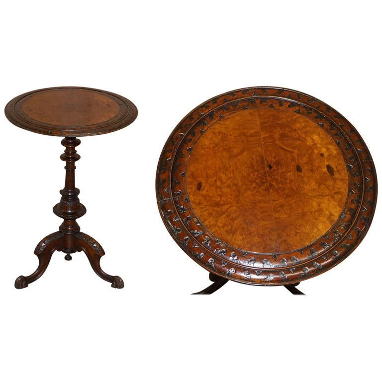 Stunning Victorian Walnut Hand Carved Substantial Side Table Ornately Carved For Sale