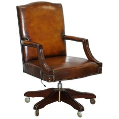 Stunning Vintage 1960s Fully Restored Aged Brown Leather Directors Office Chair