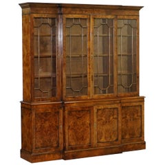 Stunning Vintage Burr Walnut Breakfront Library Bookcase Astral Glazed Doors