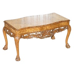 Stunning Vintage Burr Walnut Coffee Table with Ornately Carved Frame Lion Feet