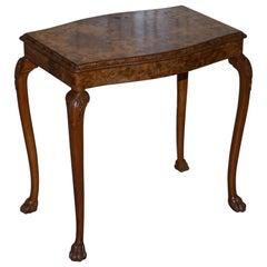 Stunning Vintage Burr Walnut Side Lamp Table Ornately Carved Frame Lion Feet