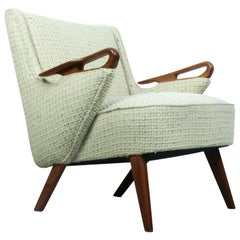 Stunning Vintage Danish Lounge Chair with Teak Body in Original Upholstery 1950s