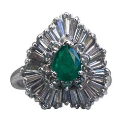 Stunning Vintage Emerald and Diamond Halo Engagement Ring, 2.60 Carat