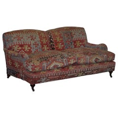 Stunning Vintage George Smith Kilim Signature Howard Sofa Feather Cushions
