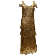 Stunning Vintage Gold Lame and Lace Evening Dress