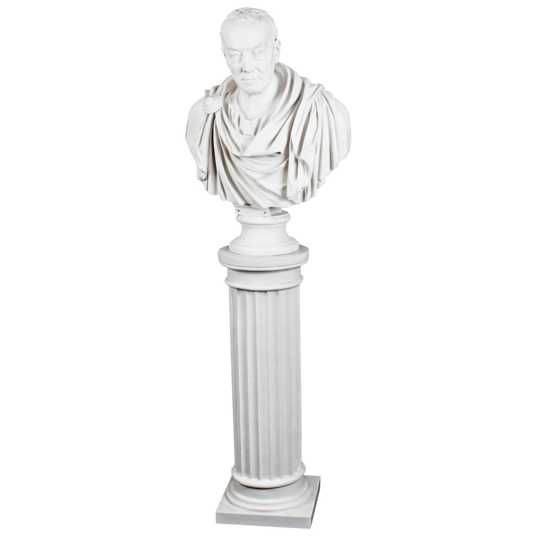 Vintage Marble Bust Roman Statesman Julius Caesar, 20th Century