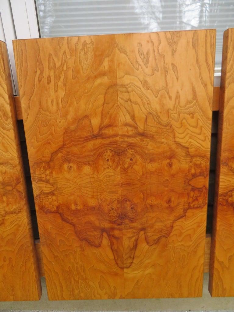 American Stunning Vintage Milo Baughman Style Burl Wood King Headboard Lane For Sale