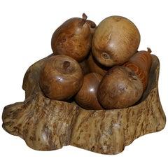 Stunning Vintage Natural Burr Elm & Walnut Fruit Bowl & Apples & Pears Fruit