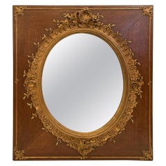 Stunning Vintage Oak and Giltwood Mirror