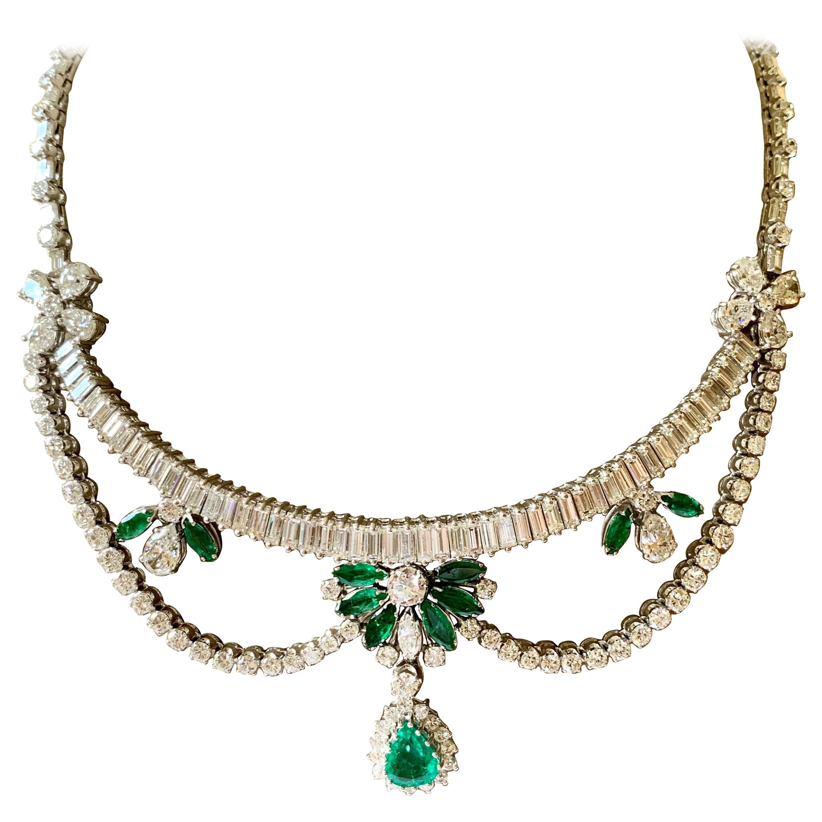 Stunning Vintage Platinum Emerald and Diamond Necklace