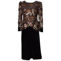 Stunning  Vintage Velvet and Sequin Dress