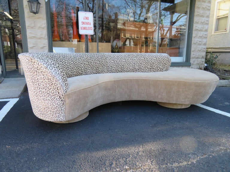 Stunning Vladimir Kagan curved serpentine cloud sofa for Directional. We are loving the Brunschwig and Fils and Dongia fabric this sofa has been re-upholstered with about 15 years ago-still looks great!