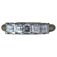 Stunning VS1 0.56 Carat Diamond Carre Cut Five-Stone and Platinum Stack Ring