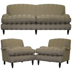 Stunning Wesley Barrell England Howard Sofa Pair of Armchairs Suite