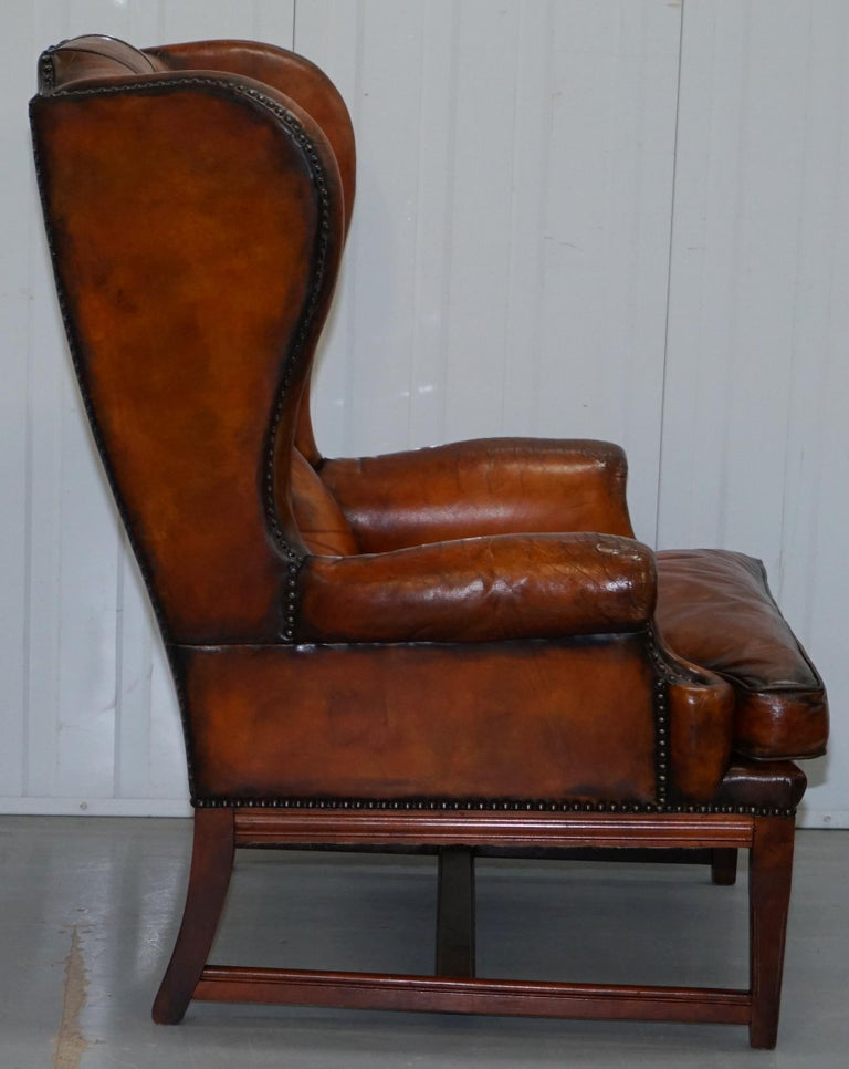 Stunning Whisky Brown Leather Chesterfield Wingback
