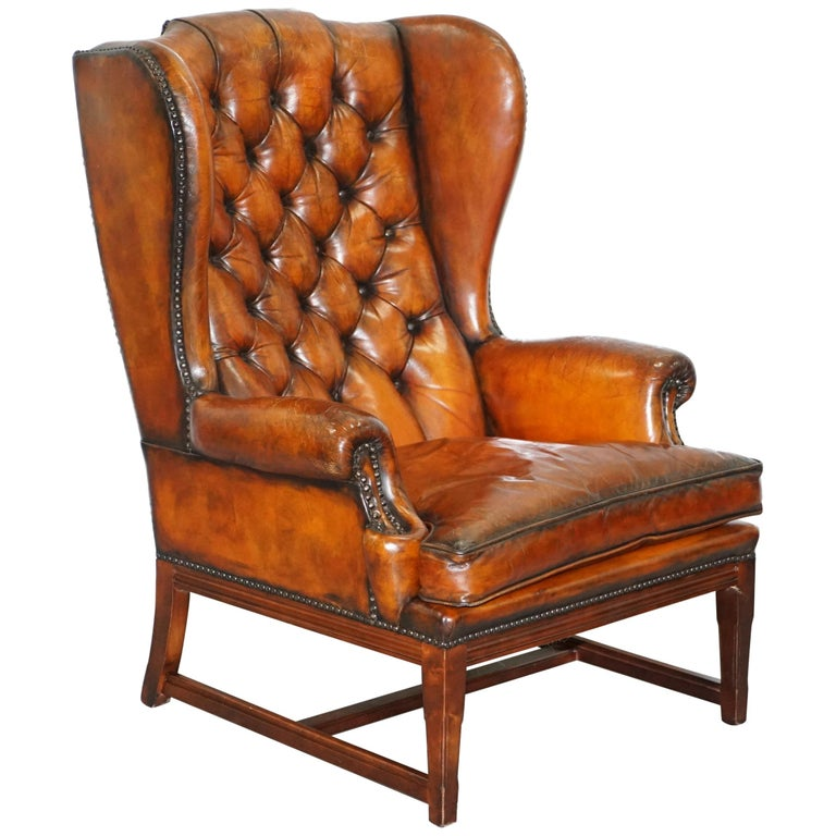 Stunning Whisky Brown Leather Chesterfield Wingback Armchair Feather