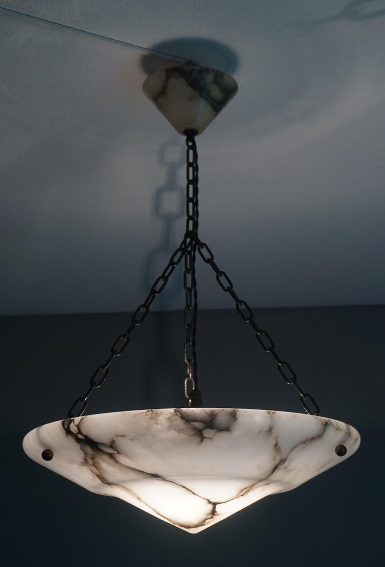 Stunning White Alabaster and Black Veins Art Deco Chandelier / Pendant ca 1920 For Sale 5