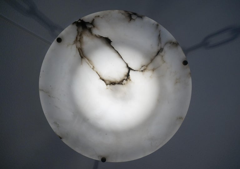 Stunning White Alabaster and Black Veins Art Deco Chandelier / Pendant ca 1920 For Sale 7