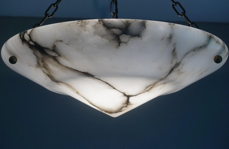 Stunning White Alabaster and Black Veins Art Deco Chandelier / Pendant ca 1920 For Sale 11