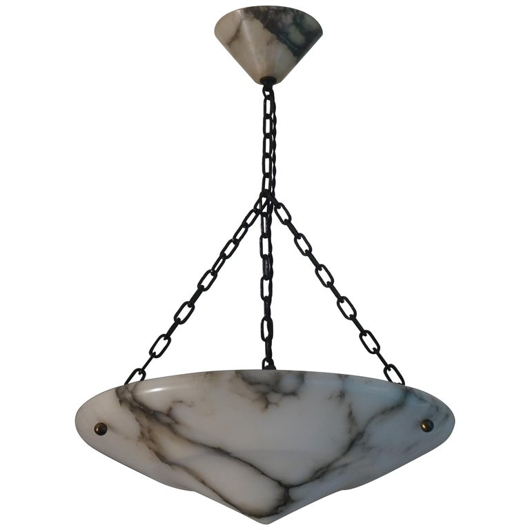 Stunning White Alabaster and Black Veins Art Deco Chandelier / Pendant ca 1920 For Sale