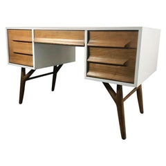 Stunning White Lacquer and Oak Desk by Jack Van der Molen for Jamestown Lounge