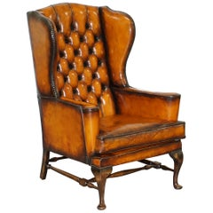 Stunning William Morris Whisky Brown Leather Chesterfield Wingback Armchair