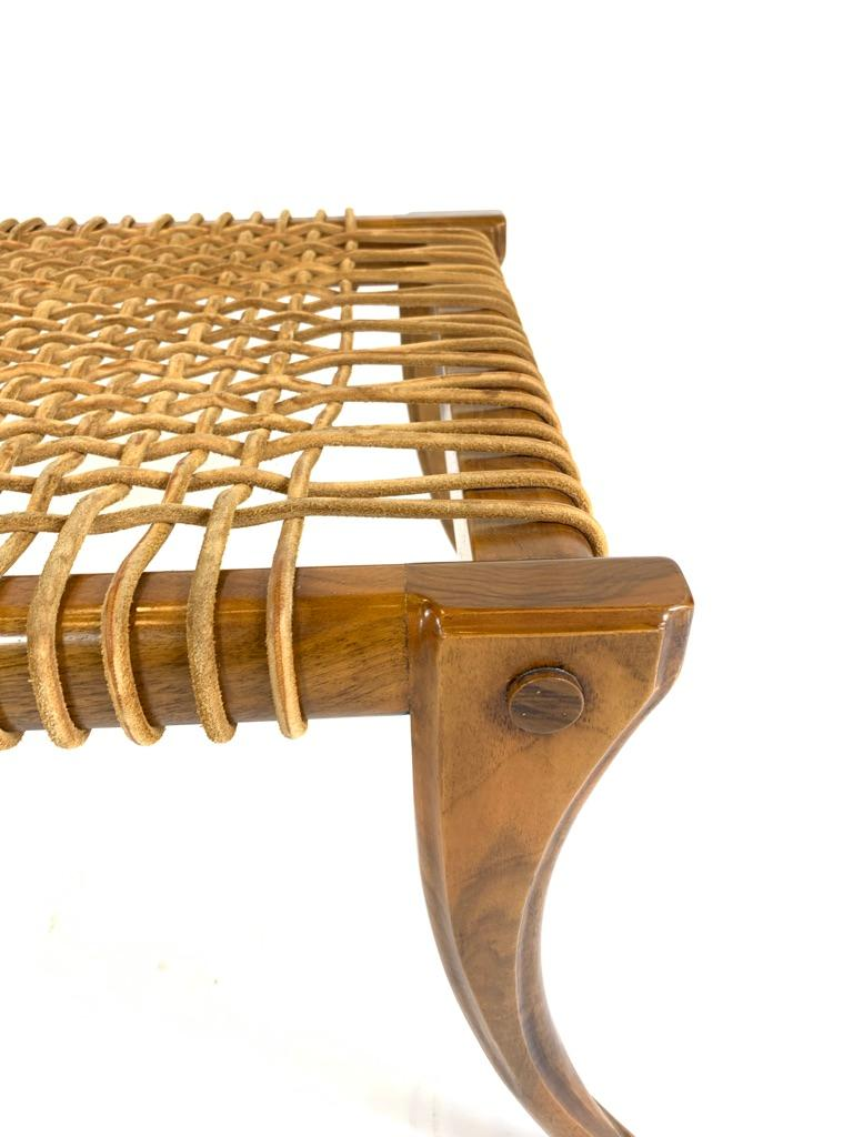 Neoclassical Revival Stunning Woven Leather Neoclassical Klismos Benches, a Pair For Sale
