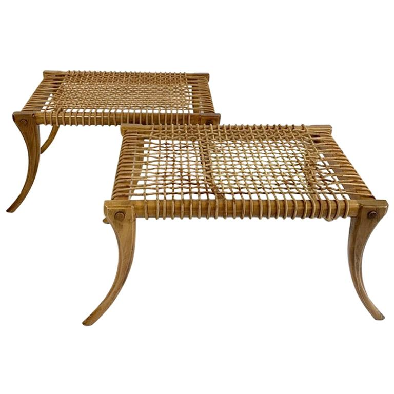 Stunning Woven Leather Neoclassical Klismos Benches, a Pair For Sale