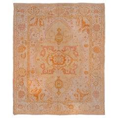 Stunning Yellow Orange & Pink Toned Antique Oushak Carpet