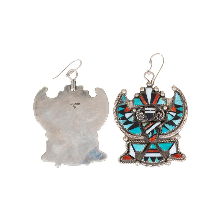 Uncut Stunning Zuni Inlaid Turquoise Concho Belt, Earrings and Necklace Set For Sale