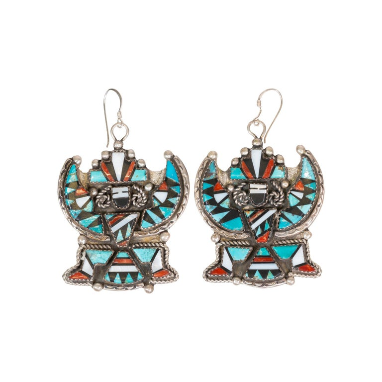 Stunning Zuni Inlaid Turquoise Concho Belt, Earrings and Necklace Set In Excellent Condition For Sale In Coeur d Alene, ID