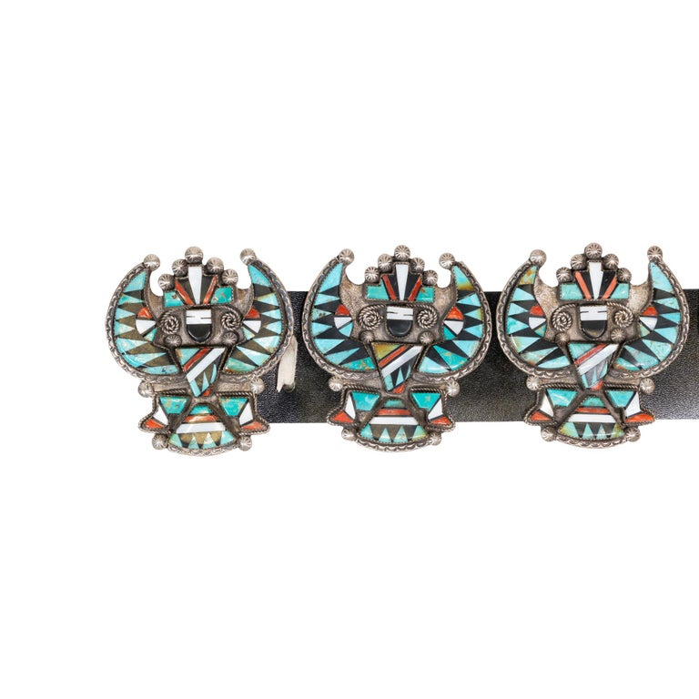 Women's or Men's Stunning Zuni Inlaid Turquoise Concho Belt, Earrings and Necklace Set For Sale