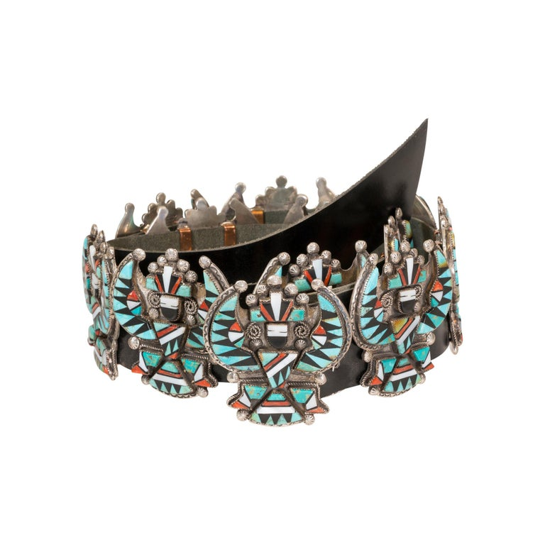 Stunning Zuni Inlaid Turquoise Concho Belt, Earrings and Necklace Set For Sale 1