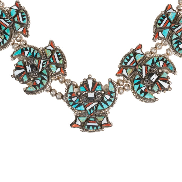 Stunning Zuni Inlaid Turquoise Concho Belt, Earrings and Necklace Set For Sale 3