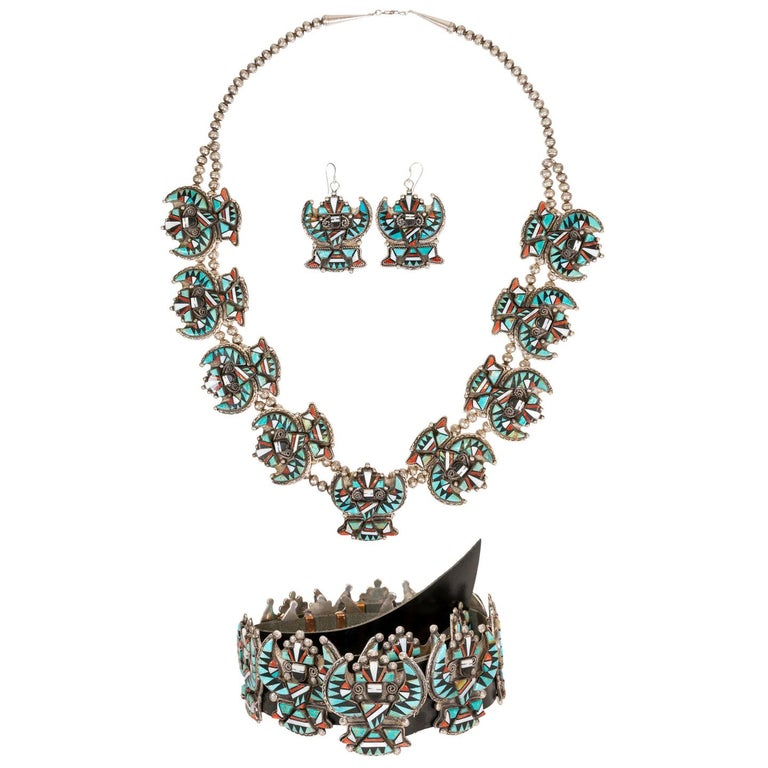Stunning Zuni Inlaid Turquoise Concho Belt, Earrings and Necklace Set For Sale