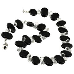 Stunningly Elegant Black Onyx and Quartz Crystal Necklace