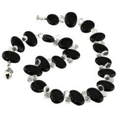 Stunningly Elegant Black Onyx and Quartz Crystal Necklace