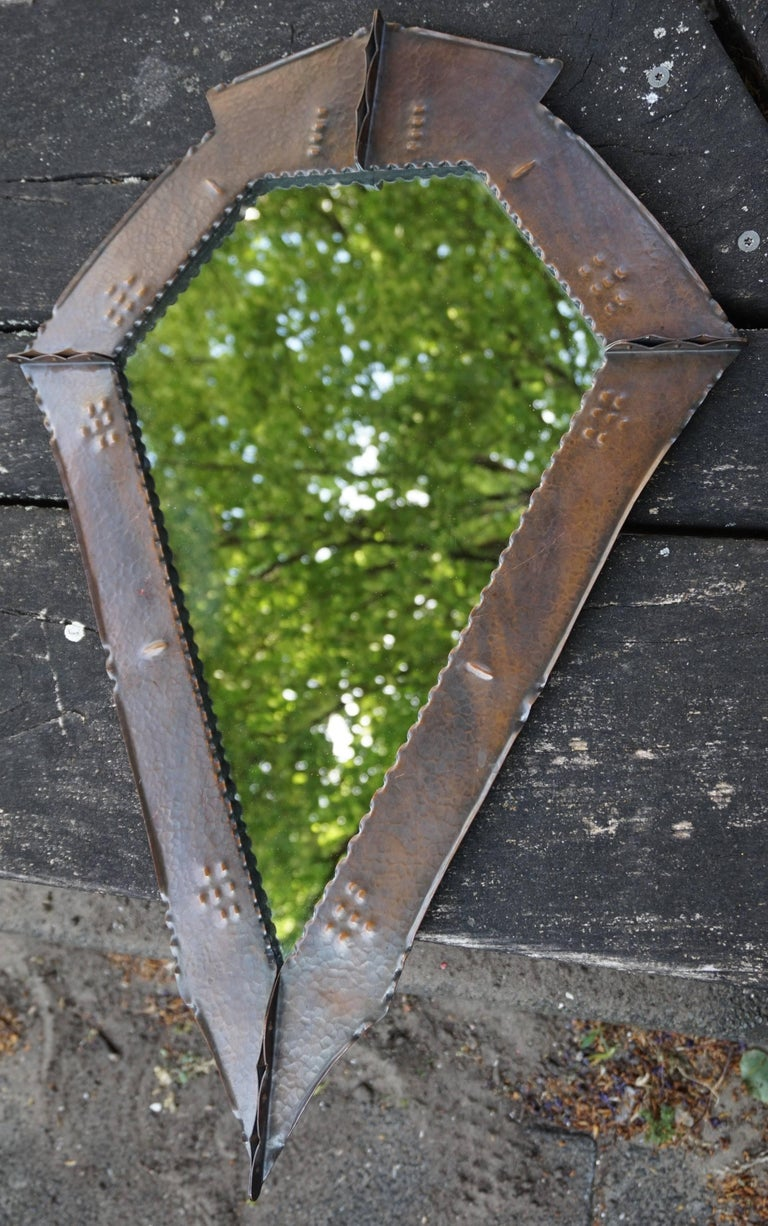 Stunningly Handcrafted Copper Arts & Crafts Wall Mirror, Early 20th Century For Sale 7
