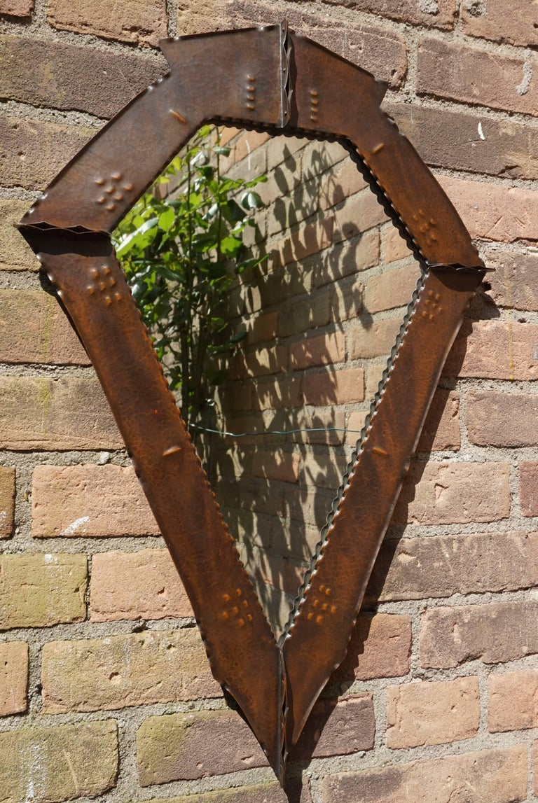 Stunningly Handcrafted Copper Arts & Crafts Wall Mirror, Early 20th Century For Sale 8