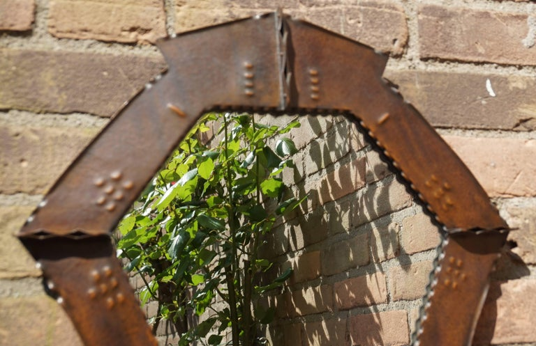European Stunningly Handcrafted Copper Arts & Crafts Wall Mirror, Early 20th Century For Sale