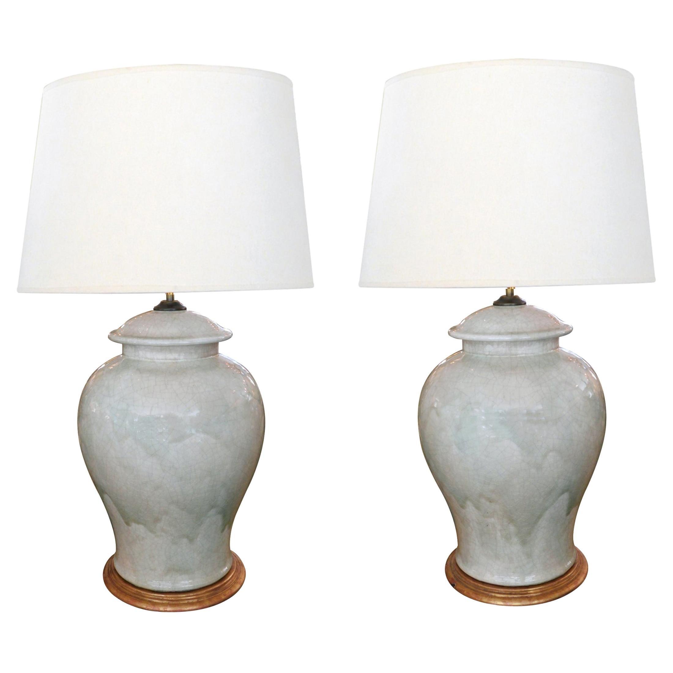 Stunningly Large Pair of 1960s Celadon Crackle-Glaze Ginger Jar Lamps