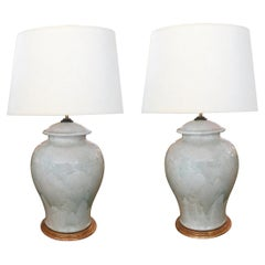 Stunningly Large Pair of 1960s Celadon Crackle-Glaze Ginger Jar Lamps