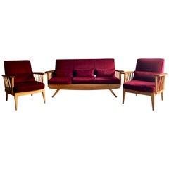 Stunningmid Century Modern Sofa & Armchair Suite Elm Three Piece, circa 1960s