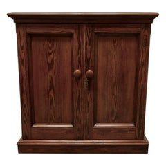 Sturdy 19th Century Pitch Pine 2-Door Cupboard